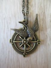 Steam Punk Nautical Compass with Bronze Swallow Bird Bronze Neck Chain Necklace