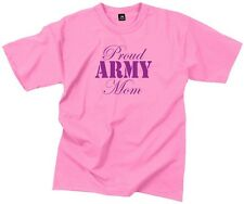 """Womens Ladies Pink """" PROUD ARMY MOM"""" Military Short Sleeve T-Shirt 5690"""