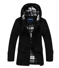 NEW 2014 Mens Long Hooded Wool Blend Duffle Single Breated Trench Coats Outwears
