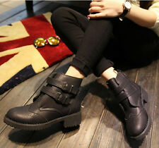 winter women's low heel  plush  buckle solid color fashion round toe snow boots
