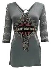 Harley-Davidson Women's Storming Passion, 3/4 Sleeve Tee, Embellished HD139GRY