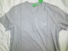 "Men's Hugo Boss Green Label shoulder logo Gray ""Teevn"" V-neck t-shirt tee"