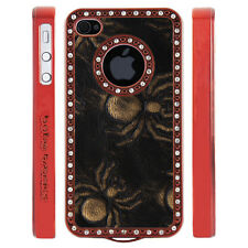 Apple iPhone 5 5S Gem Crystal Rhinestone Black Copper Spiders Leather case