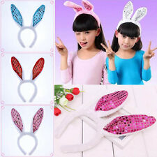 4 Color Rabbit Ears Headband Hair Band LED Sequins Flashing Bunny Party Festival