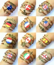 HOT Special Fashion Charms Personalized Jewelry Leather national flag Bracelets