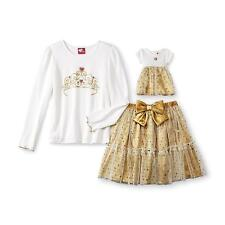 Girl 4-12 and Doll Matching Gold Skirt Outfit Clothes American Girls Dollie & Me