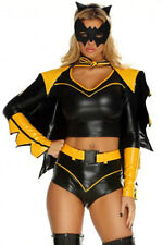 Sexy! 6pc BAT GIRL Super Hero Costume Outfit Batman Ears Mask Yellow Black 8804