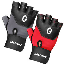 Weight Lifting FitnessTraining Gym Leather Body Building Gloves Padded Strap Gel