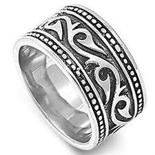 Stainless Steel Biker Tribal Barb Wire Tattoo Design Filigree Ring Sizes 8-16
