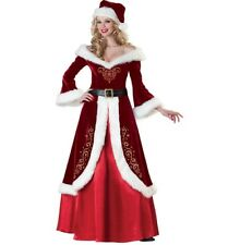 Size 8-16 AU DELUXE Ladies Mother Christmas Costume Mrs Santa Long Gown