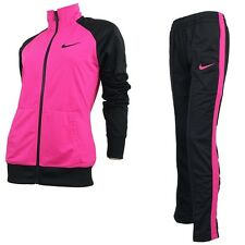 Nike RAGLAN WARM UP pink schwarz Damen Trainingsanzug Suit Jogging Fitness NEU