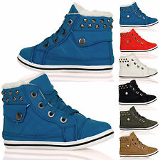 GIRLS SHOES KIDS CHILDRENS TRAINERS LACE UPS STUDDED WARM FUR LINED WINTER SIZE