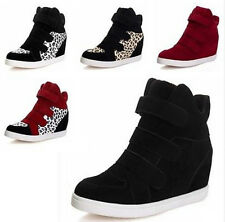 Hot! New Women's High Top Wedge Heel Tennis Flat Shoes Velcro Sneakers Boots
