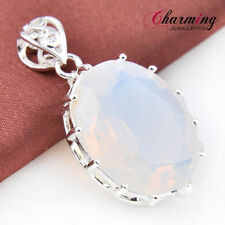 Best Quality Oval Rainbow Moonstone Gemstone Silver Necklace Pendant 1 1/2 Inch