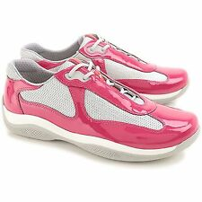 PRADA PATENT LEATHER SNEAKERS PR3163 IBISCO+ARGENTO (HOT PINK) *NEW IN BOX*
