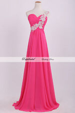New One Shoulder Beading Bridesmaid Evening Prom Dress Size 6 8 10 12 14 16 18