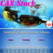 New Adult Myopia Swimming Goggles Anti Fog UV protective from-1.50 to -8.00 Blue