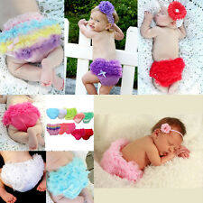 Baby Girls Pettiskirt Ruffle Panties Briefs Bloomer Diaper Cover Sz-S 6-24M New
