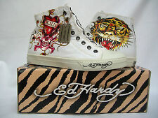 NEW ED HARDY WOMEN'S HIGH TOP CANVAS SLIP ON TRAINERS