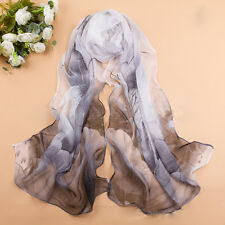 Hot Women Georgette Chiffon Long Wrap Shawl Lotus Flower Soft Scarf  China Style