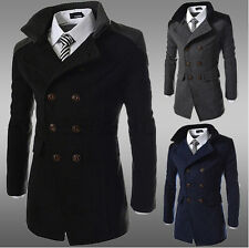 Mens Trendy Wool Slim Fit Double Breasted Peacoat Trench Jacket Coat Outwear F31