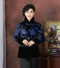 blue Chinese embroider Women's winter velvet evening Jacket/Coat sz:10-18