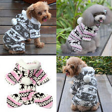 Xmas Dog Clothes Pet Puppy Snowflake Sweater Hoodie Winter Coat Outwear New