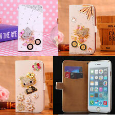 Luxury Bling Diamond Hello Kitty Card Stand Leather Wallet Case Cover for iPhone