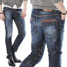 New DSQUARED2 Broken hole Do old Paint points Washing Men's Feetpencil Jeans