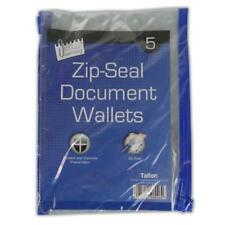 5pc A5 Zip Seal Document Wallets - Storage File Carry Folder Papers Office Work