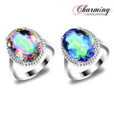 Unique Natural Rainbow Mystical Topaz Gemstone 925 Silver Plated Ring Size 7 8 9