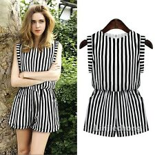 Summer Women Lady Striped Print Causal Tunic Jumpsuit Romper Overall Shorts SML