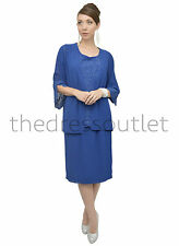 Mother Of The Groom Church Dress Wide Sleeves Jacket Formal Royal Blue Plus
