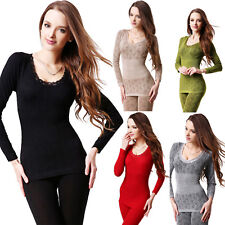 Womens Sexy Lace Crew Neck Thermal Underwear Body Shaper Long Johns Pajamas Set