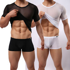 Men Mesh Sheer Short Sleeve Gym Sports Wear Tops Under T-Shirts Muscle Tights