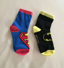 NEW.. Set of 2 Kids Boys Superman Batman Hero Socks ... fits 3-5 years