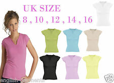 WOMENS T-SHIRT PLAIN SHORT SLEEVED V NECK CAUSAL TOP T-SHIRT SIZE 8 10 12 14 16