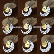 2015 Charm Family Personal I LOVE YOU TO THE MOON AND BACK Moon Pendant Necklace