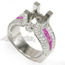 14k Semi Mount 1.40 cwt Pave Diamond & .90ct Pink Sapphire Engagement Ring