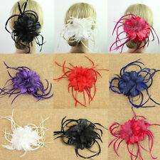 6 Color Mesh& Feather& Flower Hair Clip Corsage Pin Brooch Hair Fascinator Decor