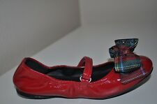 NEW $220+ Prada Girl's RED Patent Leather Bow Ballet Flat Shoe US Sz 8, 13, 1.5