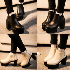 Women Chunky Block Chelsea Cleated Heel High Platform Mid Calf Ankle Boots Shoes