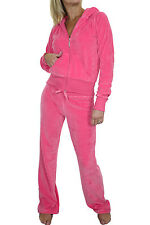 NEW (6327-2) Womens Velour Hooded Lounge Suit Hot Pink 6-20