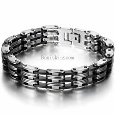 Silver Stainless Steel Black Silicone Biker Motorcycle Wristband Men's Bracelet