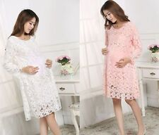 New pregnant women long sleeve lace dress maternity spring summer loose dress