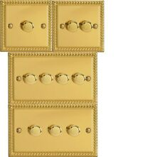 Varilight Georgian Roped Brass  Dimmer Light Switch 1 2 3 4 gang Single/Double