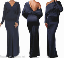 NAVY BLUE MULTIWAY Reversible PLUNGING Convertible MAXI DRESS Off Shoulder S M L