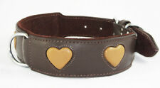 Brown Staffy Dog Collar Tan Heart Staffy Staffordshire Bull Terrier Collar