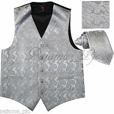 SILVER GRAY MEN Paisley Tuxedo Suit Dress Vest Waistcoat & Neck tie & And Hankie