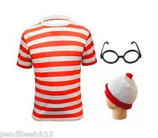 New Mens Red & White Stripe T Shirt + Glasses + Hat Fancy Dress Wheres Wally Set